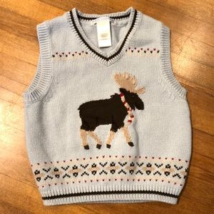 Janie & Jack Blue Moose Knit Vest